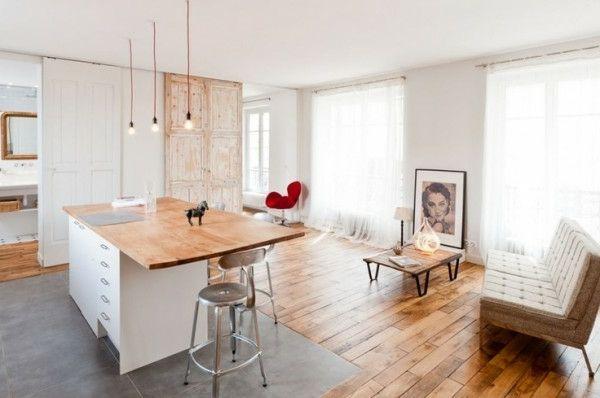 Recycelt Holz Küche Raumteiler Ideen Gleittüren