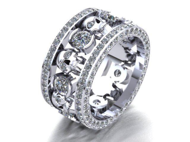 custom skull ring with diamonds and white gold how kewl - Skull Wedding Rings For Men