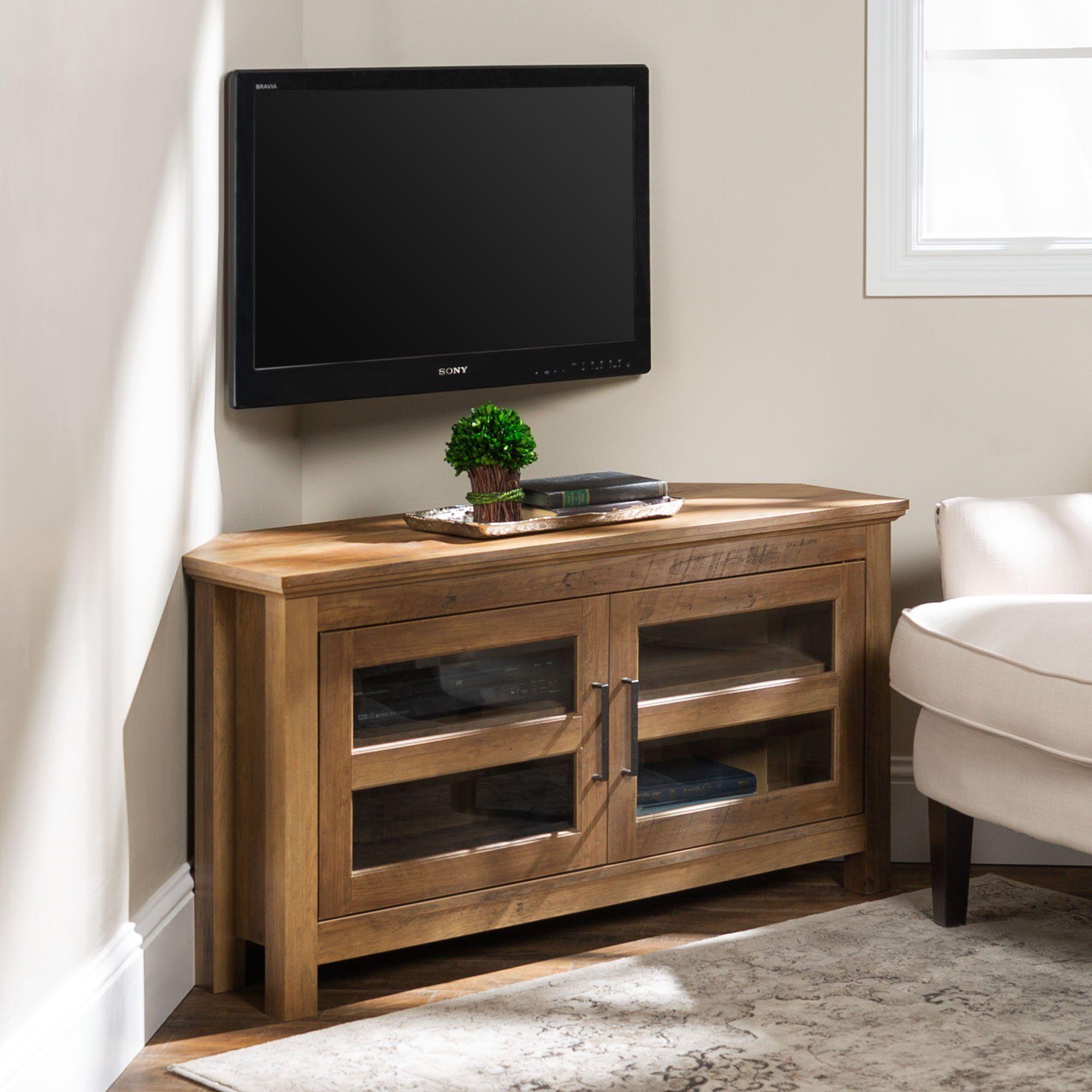 Brown Rustic Oak 44 Inch Corner Tv Stand Saracina Home Corner Tv Stand Corner Tv Cabinets