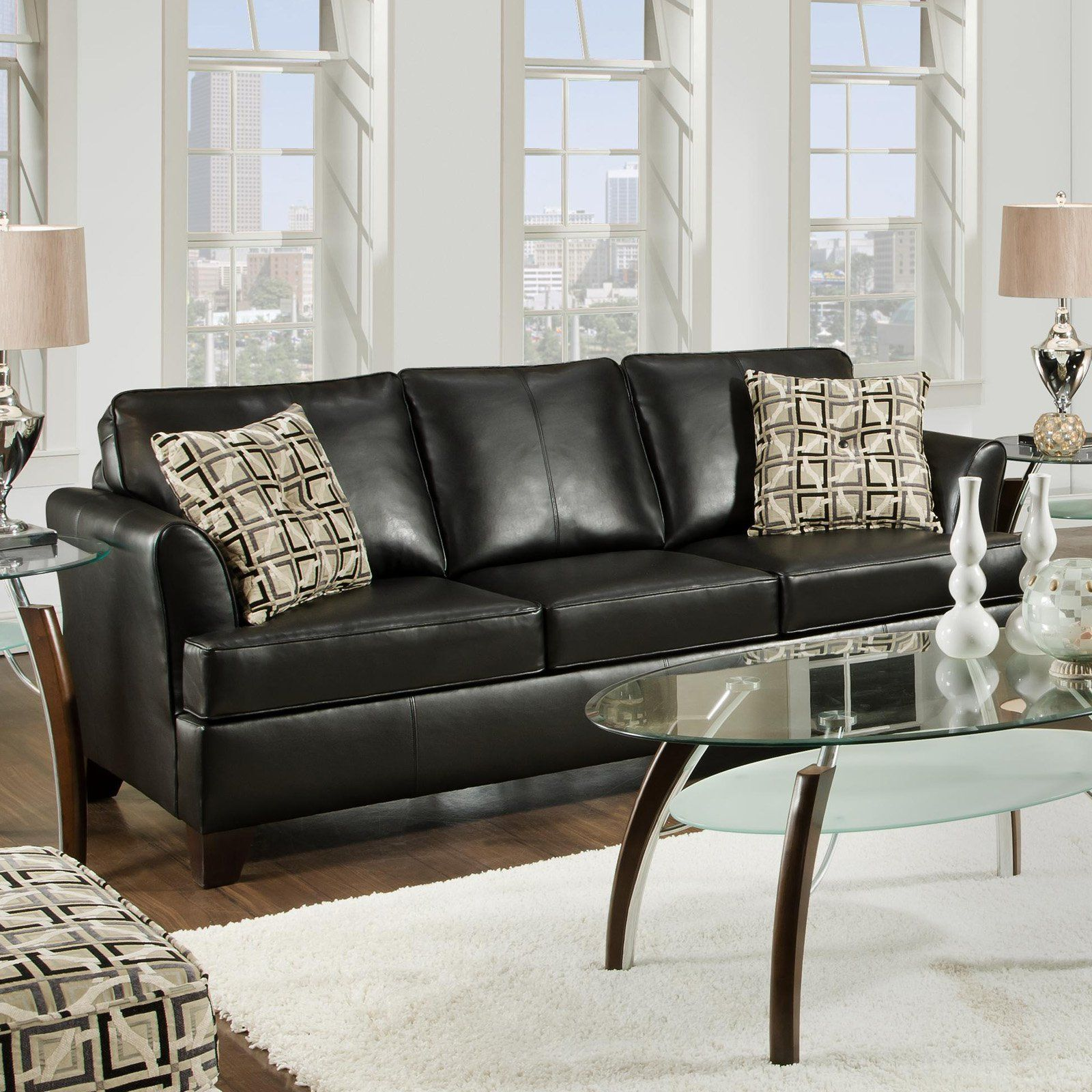 Simmons Urban Onyx Leather Sofa With Accent Pillows  Leather Mesmerizing Living Room Designs With Leather Furniture Decorating Design