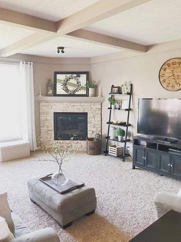 39 stunning corner fireplace design for living room in