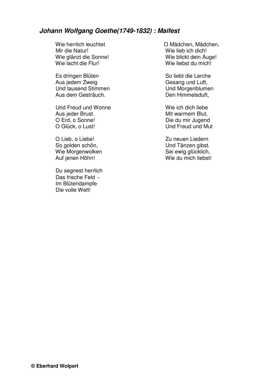 Goethe: Maifest (Gedichtinterpretation) - Sturm und Drang - Unterrichtsmaterial im Fach Deutsch