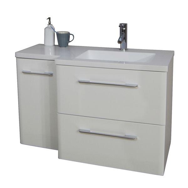 Shop Bestview 384-in White Integral Single Sink Bathroom Vanity