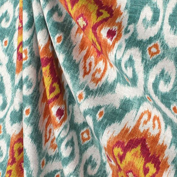 Trendy Curtain Panels Boho Decor Designer Ikat Window Curtains Teal Orange Drapes Damask Medallion Curtains Fabric Decor Kitchen Fabric Teal Kitchen Decor