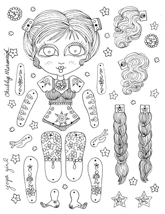 Yoga Girl Paper Doll Instant Download You be the door ChubbyMermaid