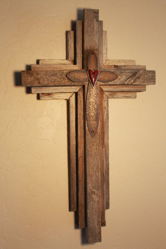 Wall Cross from salvaged wood - 24\