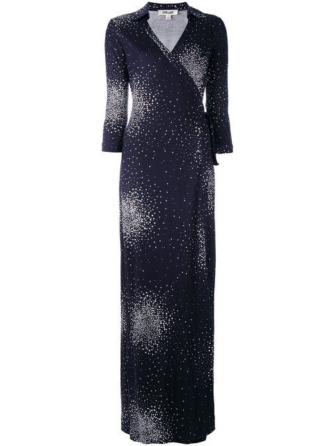 DIANE VON FURSTENBERG Patterned Maxi Wrap Dress. #dianevonfurstenberg #cloth #dress