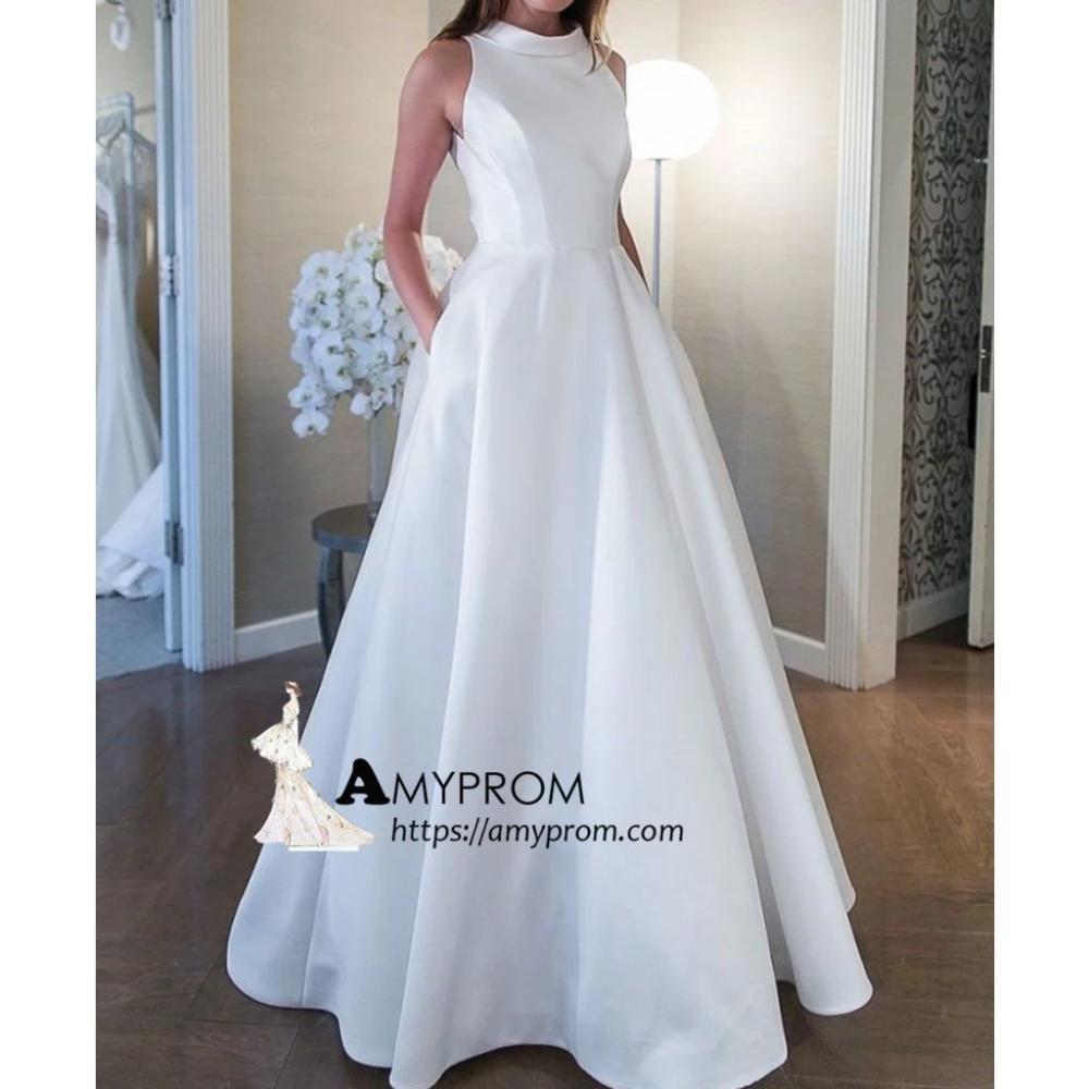 High Neck White Brautkleider Mit Tasche Rustikale Brautkleider SEW019