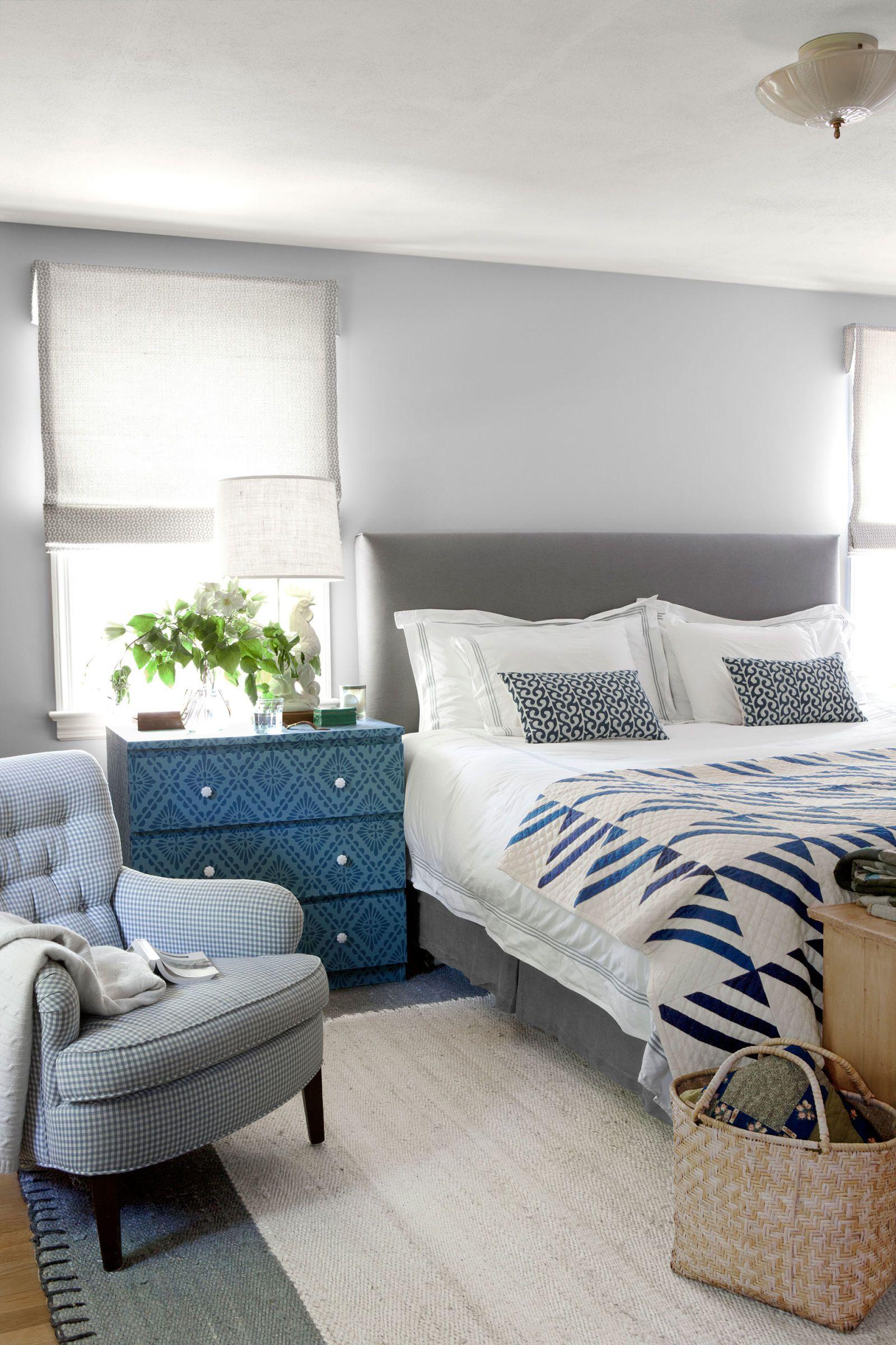 Schlafzimmer Gemütliches Schlafzimmer Zimmer ideen Blau Schubladen Preußischblau Nachttische Nachttisch Blue Bedroom Bedroom Decor