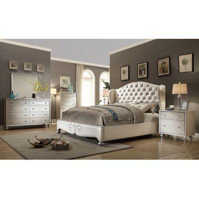Rosdorf Park Aveliss Queen Wingback 4 Piece Bedroom Set | Pinterest ...