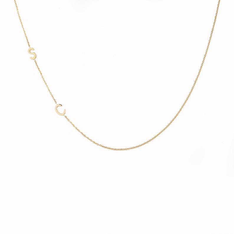 14k Solid Gold Sideways Letter Necklace Gold Sideways Initial Etsy Initial Necklace Gold Gold Letter Necklace Sideways Initial Necklace