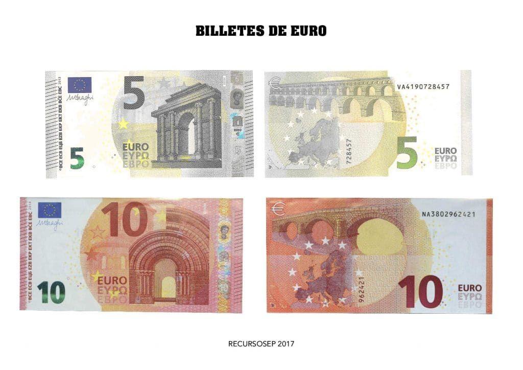Billetes de euro para descargar  ImPriMibLeS EducAtiVoS  Pinterest
