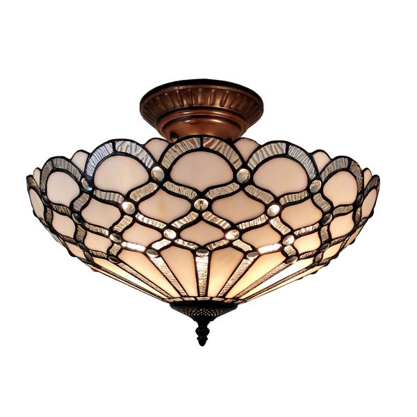 Amora Lighting Tiffany Style Jewel Semi Flush Mount  Vintage Amazing Stained Glass Light Fixtures Dining Room Design Inspiration
