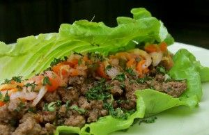 asian infused lettuce wraps - with kimchi and cuc salad