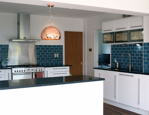 more blue tiles! | teal kitchen, blue tiles and kitchens