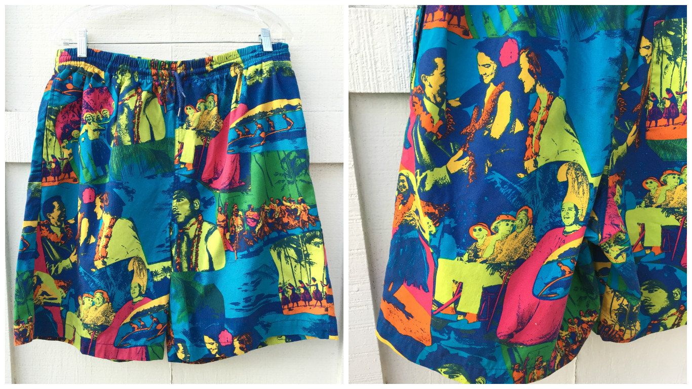 b494a9d265ee5 Vintage 90's Tropical Print Gap Board Shorts / Swim Trunks - Men's Large by  ElkHugsVintage on Etsy