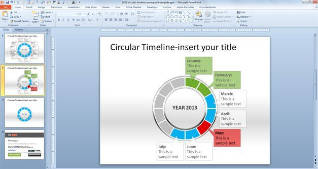Circular Timeline PowerPoint Template 2013 Forms and Print Outs
