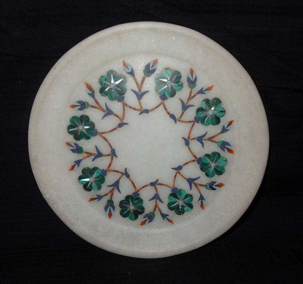 6\  Marble Serving Plate Malachite Mosaic Inlay Giving Tuesday Decorative Gifts #HariomHandicraftExport #ArtDecoStyle & 6\