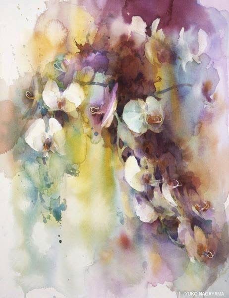 Yuko Nagayama 永山裕子 1963 Watercolor Flowers Floral