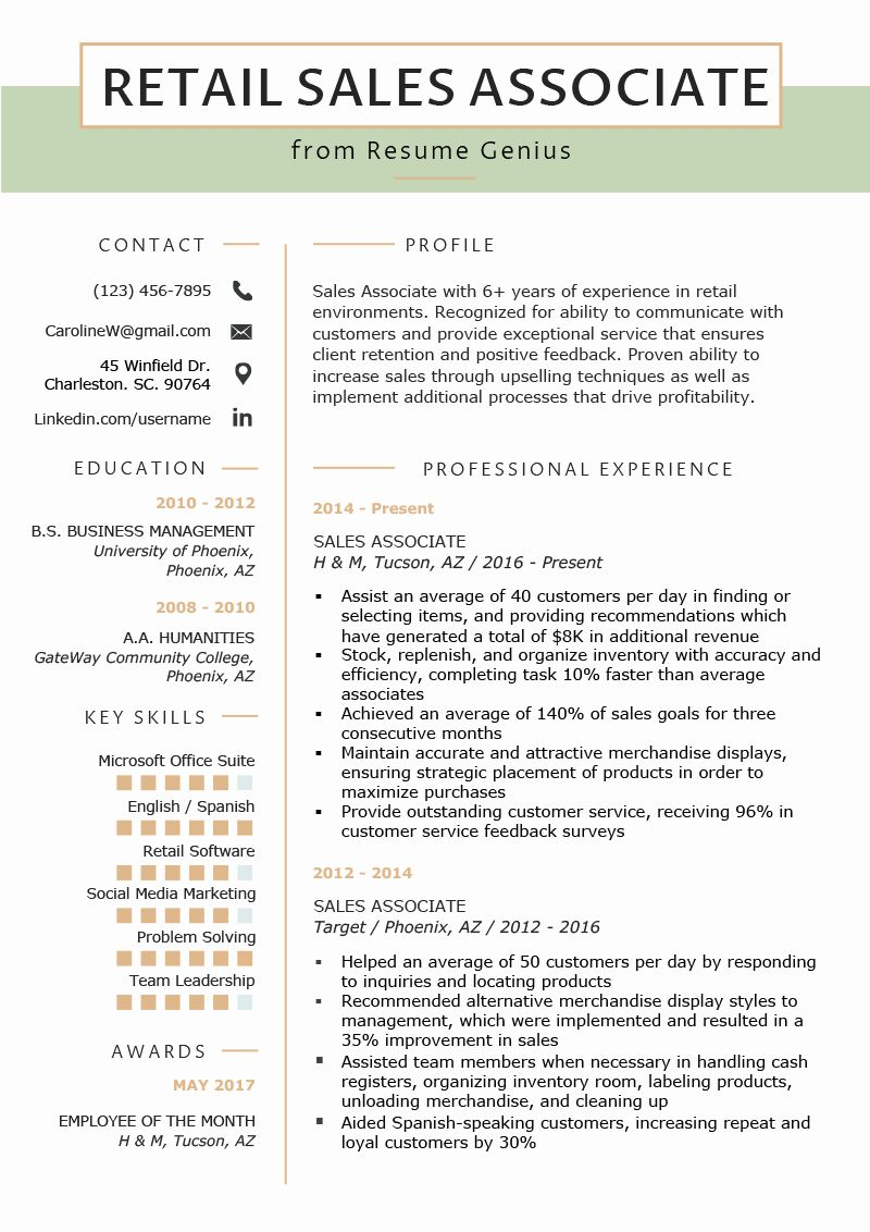 Sales Associate Resume Objective Fresh Retail Sales Associate Resume Sample Writing Tips Sales Resume Examples Retail Resume Examples Resume Summary Examples