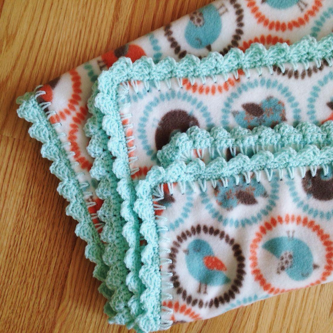Fleece baby blanket with crochet border Completed