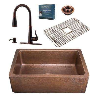 Pfister All In One 33 In Copper Farmhouse Kitchen Sink Design Kit