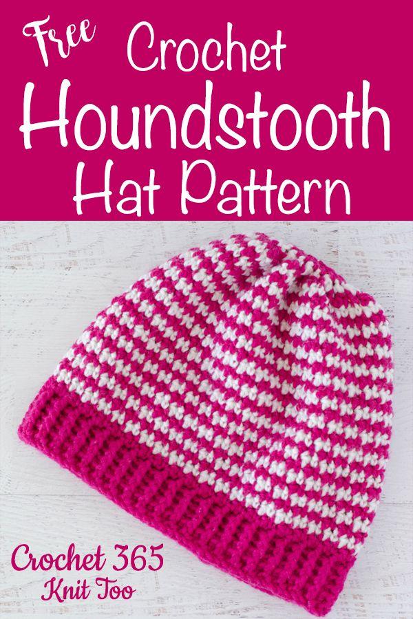 Crochet Houndstooth Hat | Crochet hats, Crochet, Double ...
