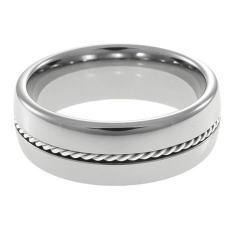 Silver Braid Dome men's tungsten promise ring – Anniversary Rings ...