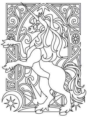 Unicorn Nouveau design (UTH7551) from UrbanThreads.com | Unicorns ...