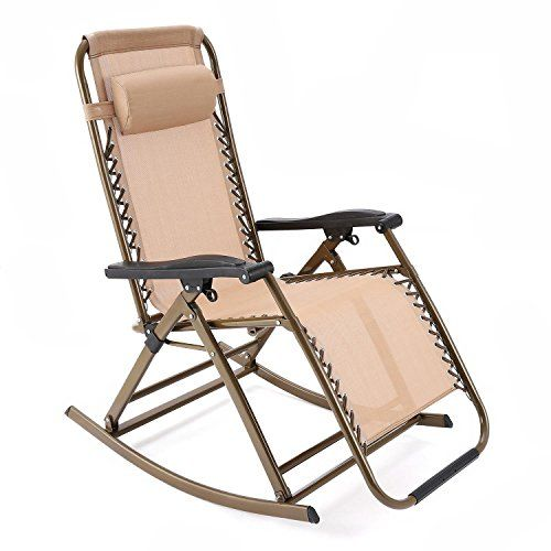 Zero Gravity Rocking Chair With Headrest Folding Reclining Chair For Garden Lawn Camping Pool Patio Folding Rocking Chair Indoor Chairs Outdoor Rocking Chairs
