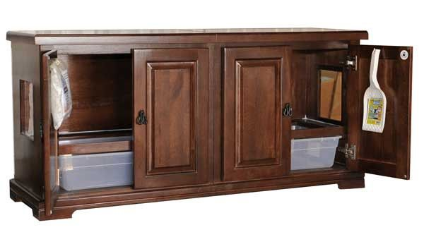 Style F2 Double Cat Pan Litterbox Cabinet Catsplay Superstore