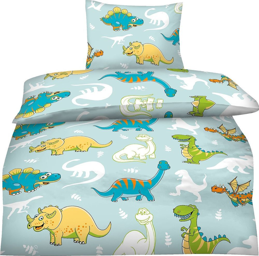 bettw sche 100x135 cm kinder mikrofaser dinosaurier dino blau jungen bunt trex aminata kids. Black Bedroom Furniture Sets. Home Design Ideas