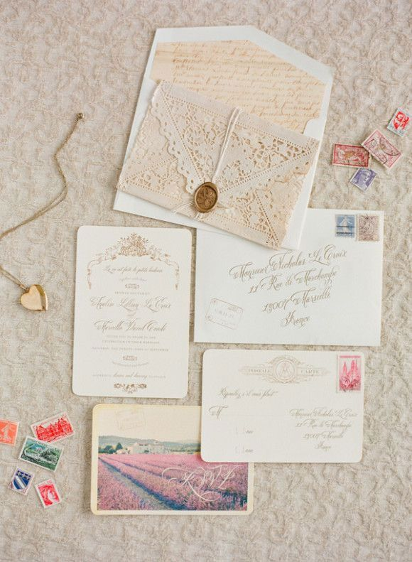 Destination wedding french chteau wedding wedding inspirations these are real pretty but they look very difficult i like the lace look of the invitation let me know what you think stopboris Gallery