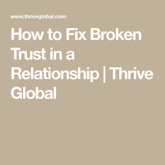 How to fix a relationship without trust