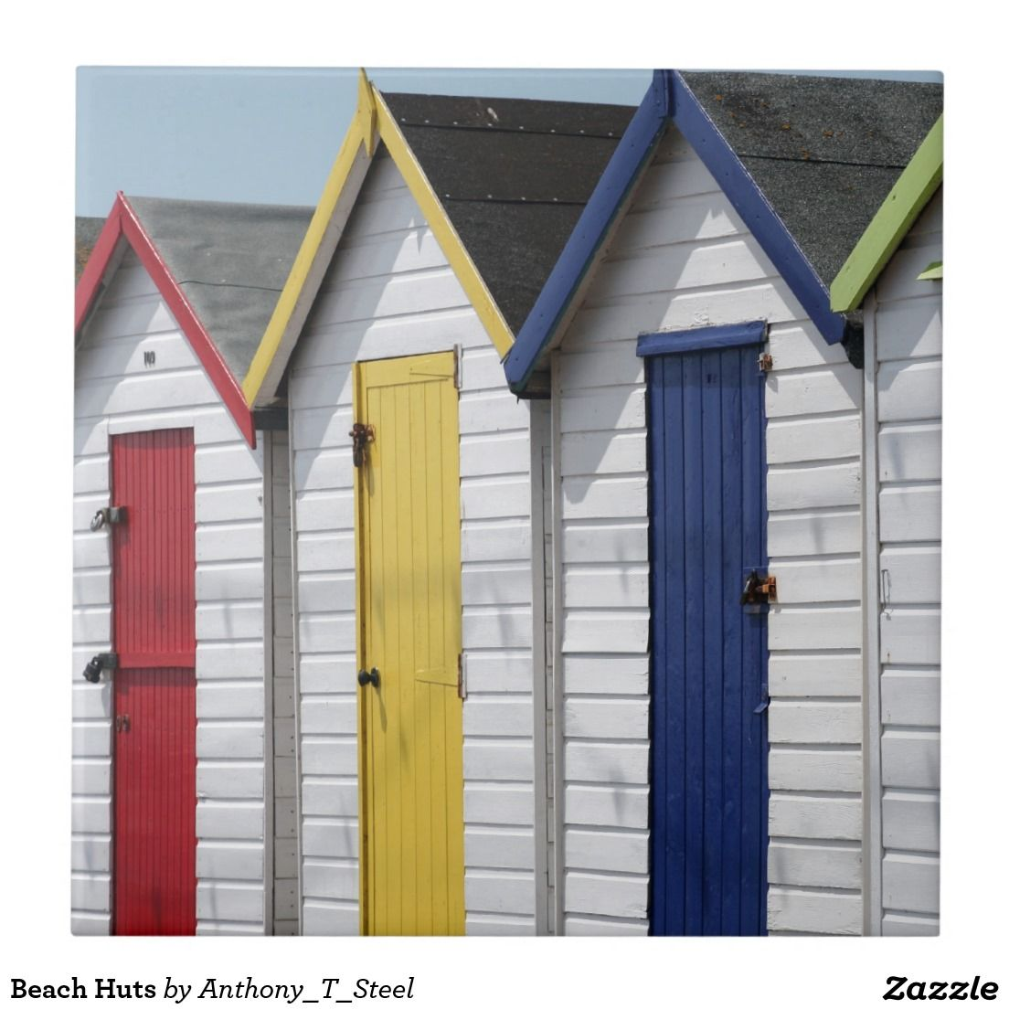 Beach Huts Ceramic Tile Traditional Wooden Colourful Beach Huts At