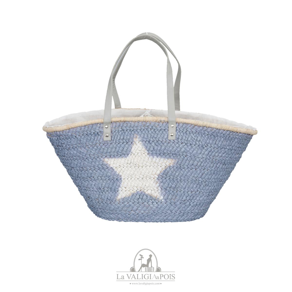 Bag White Star - Borsa in paglia naturale intrecciata con esterno in colore azzurro e stella bianca a contrasto dipinta, capiente, con fodera interna e manici in pelle.