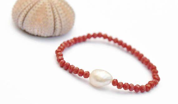 Red Bracelet freshwater pearl girlfriend gift stretch