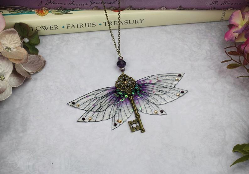 Purple fairy wings necklace bronze necklace