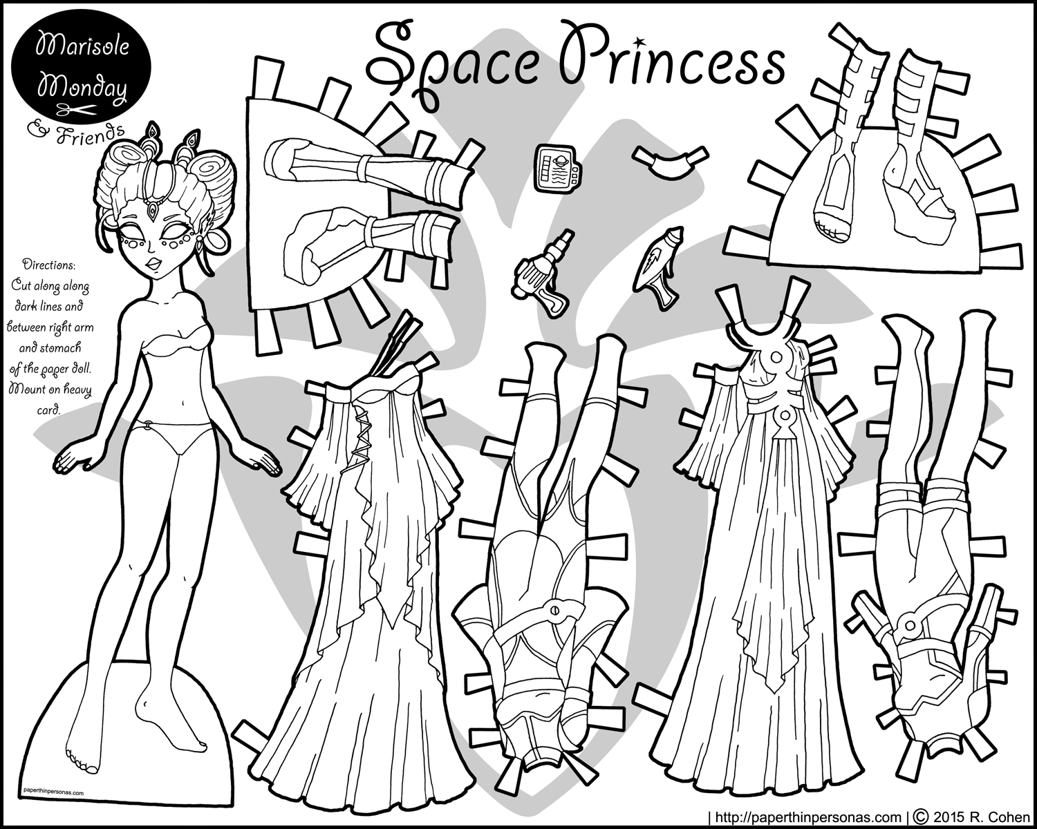 A printable paper doll of an alien princess in black and with with a ...