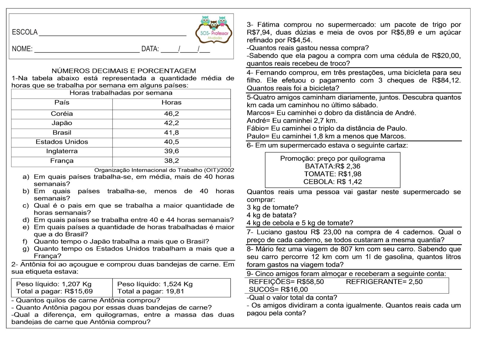 Suficiente SOS PROFESSOR-ATIVIDADES: Números decimais e porcentagem  VW11