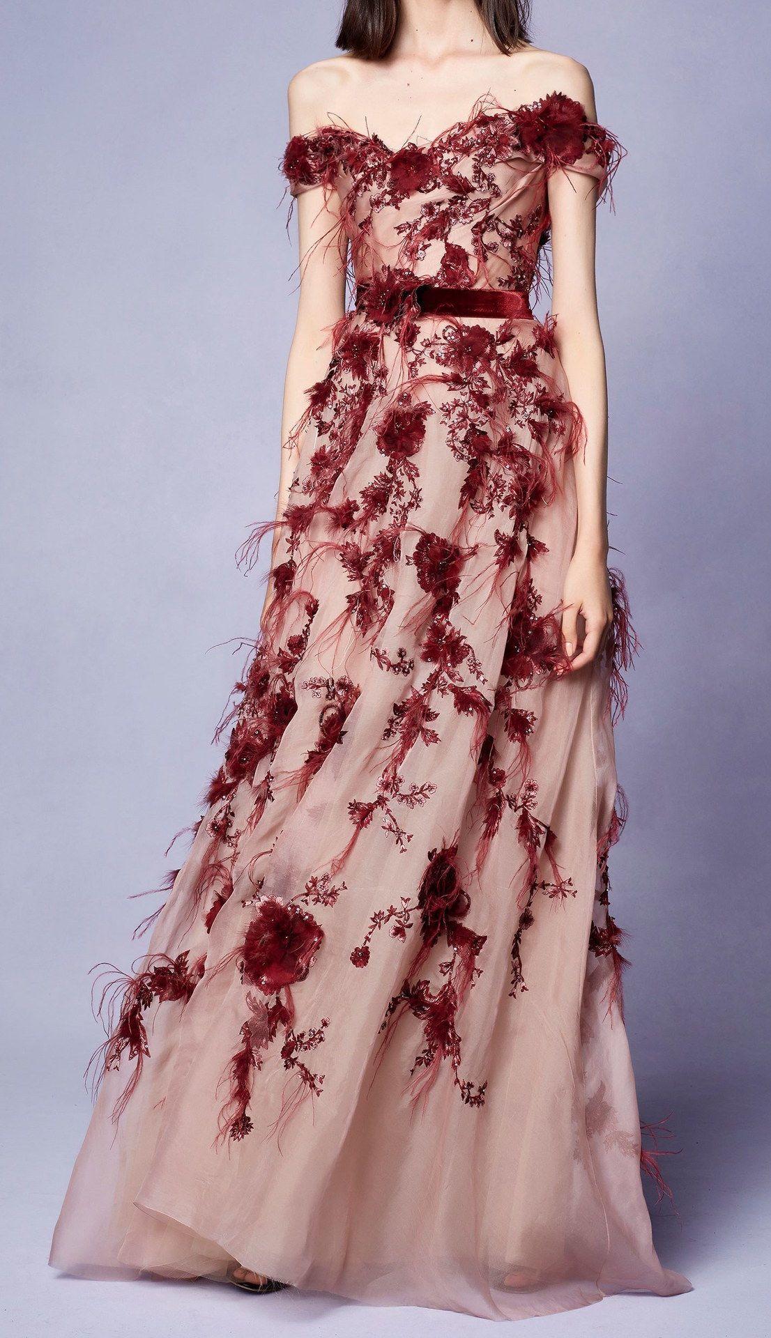 Red ball gown wedding dress  Marchesa Resort   Gowns  Pinterest