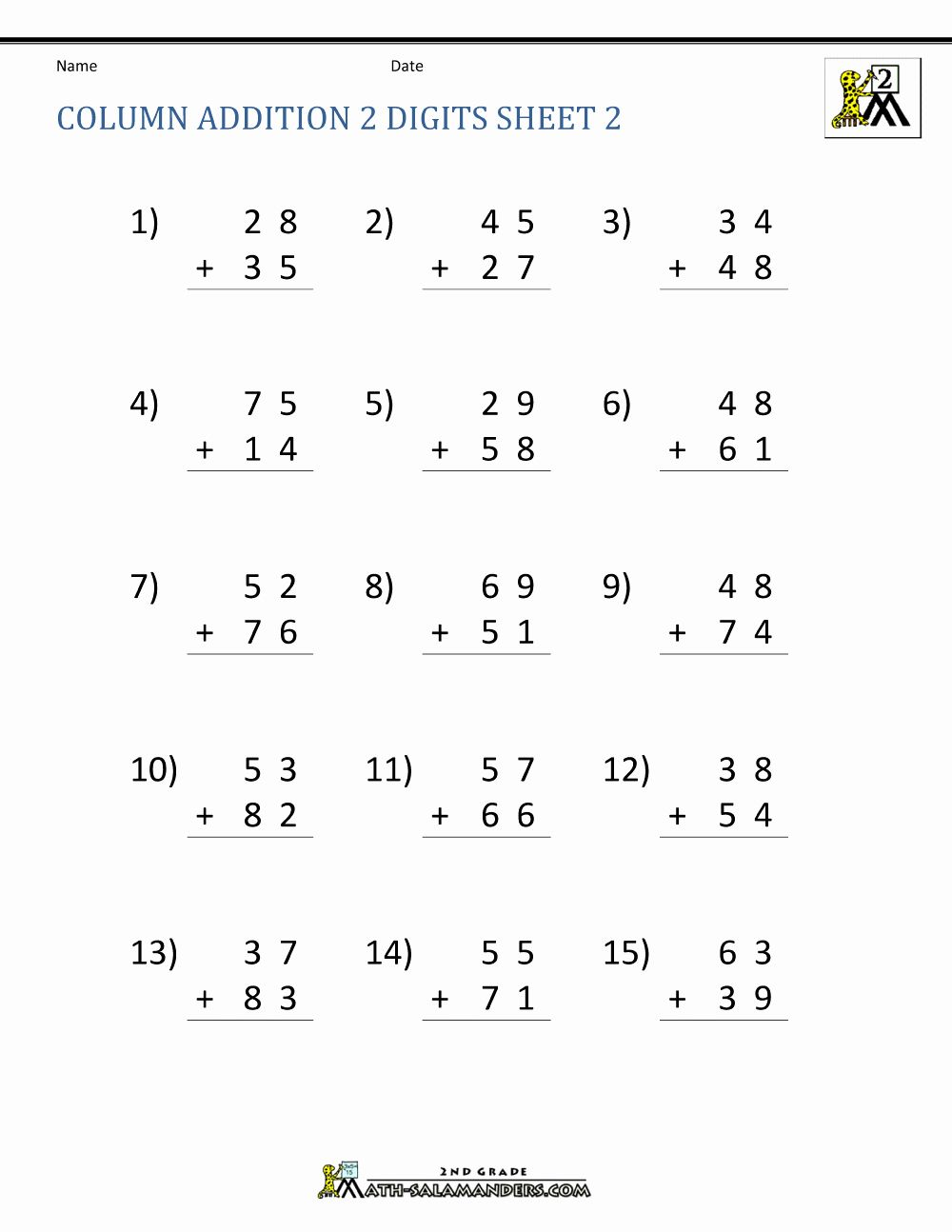 Grade 2 math worksheets on adding two 2digit numbers in