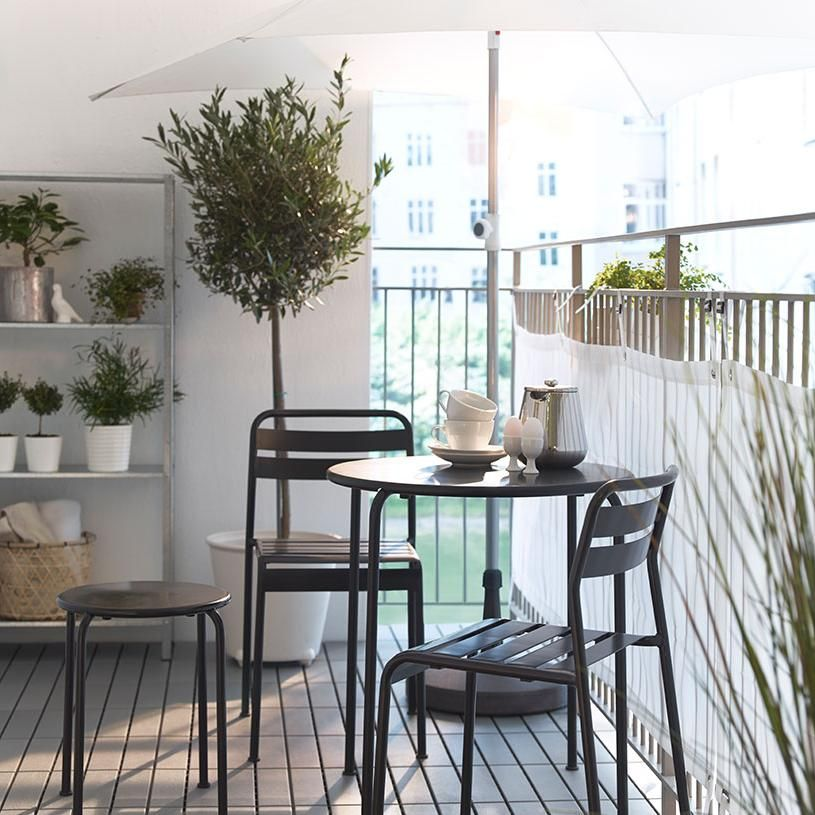 Modern Balcony Furniture Ideas By Ikea With Small Round Table And Chairs