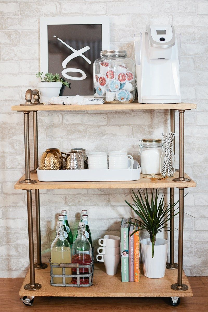 Diy Coffee Bar Cart A Rustic Take On The Clic Build It Yourself And Use For