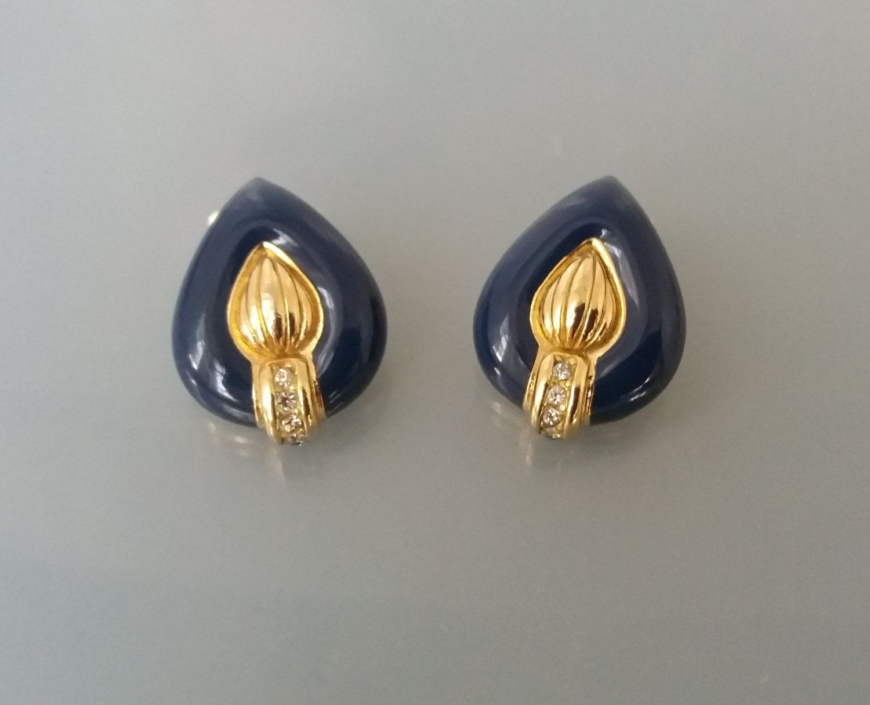 Vintage Gold Framed Enamel Red Rectangle Clip on Earrings