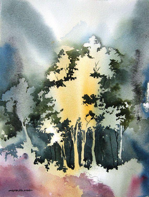 Little Aspen Grove II - Original Watercolor Painting