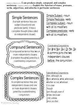 Simple Compound And Complex Sentences Interactive Foldabl Complex Sentences Simple And Compound Sentences Complex Sentences Worksheets