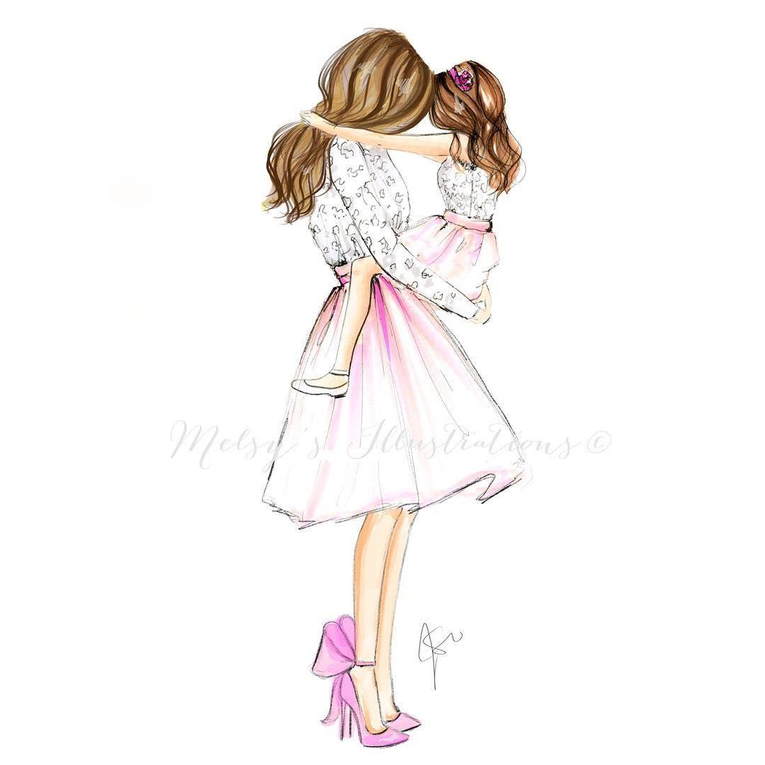 "Photo of Melsy's Illustrations ©️ on Instagram: ""As girl's best friend is her mother 💗 love you mom! @melsysmom xoxox #friday #mom #love #littlegirl #art #illustration #fashionillustration…"""