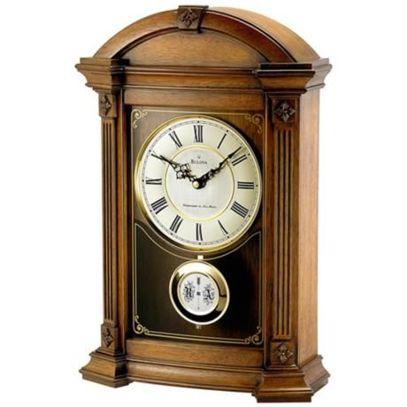Allerton 17 1 2 High Triple Chime Bulova Mantel Clock V1920 Lampsplus Com Mantel Clocks Bulova Clock Bulova Mantel Clock
