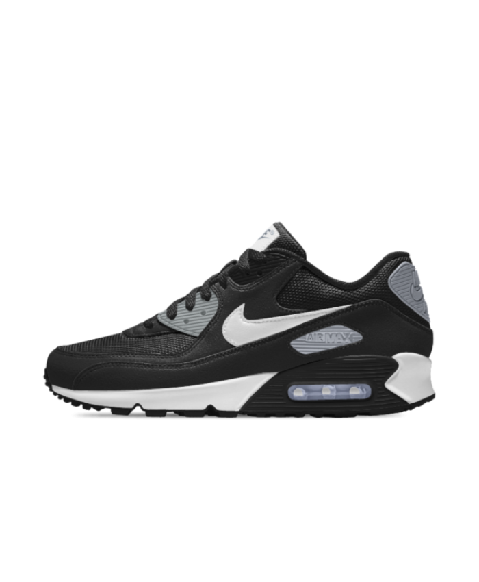 best sneakers 9e7e6 378d5 Nike Air Max 90 Essential iD Black Grey White Mens Shoe
